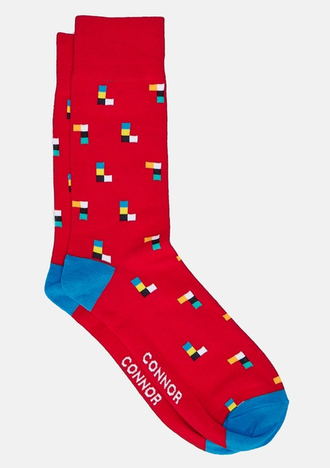 Red Block Sock