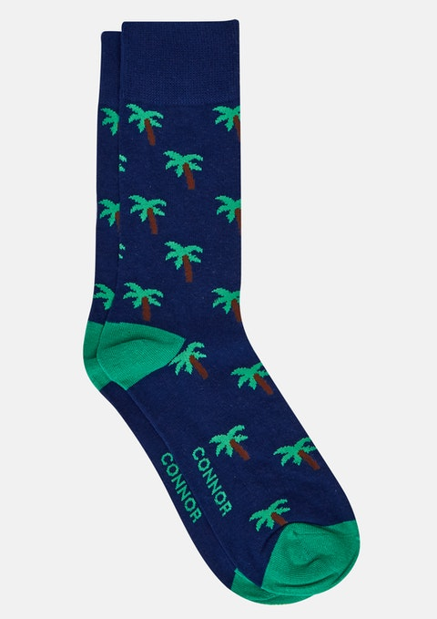 Navy Palm Tree Sock