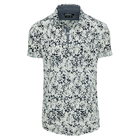 White Erskine Slim Print Shirt by Connor