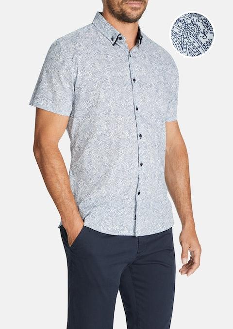 Blue Ryders Print Slim Shirt