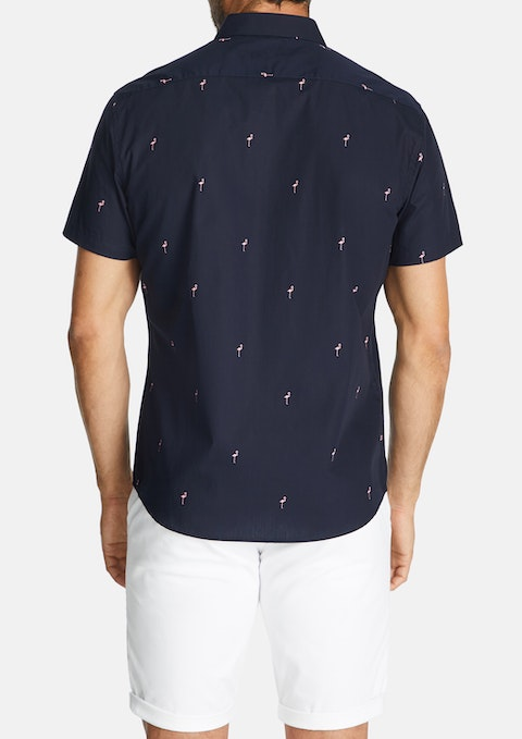 Navy Flamingo Slim Shirt