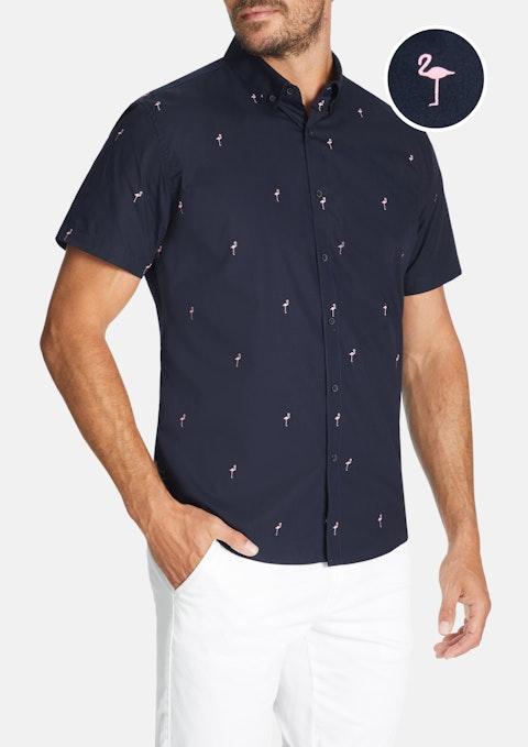 Navy Flamingo Slim Shirt