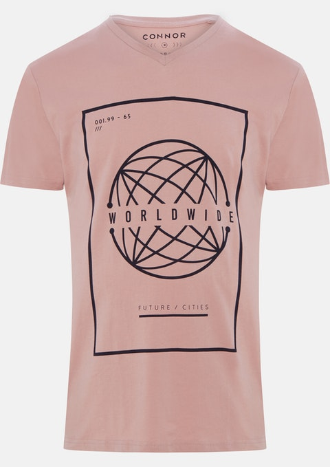 Dusty Pink Sonic V Neck Tee