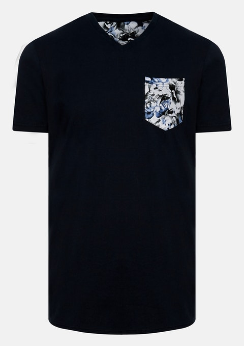 Navy Conrad V Neck Tee