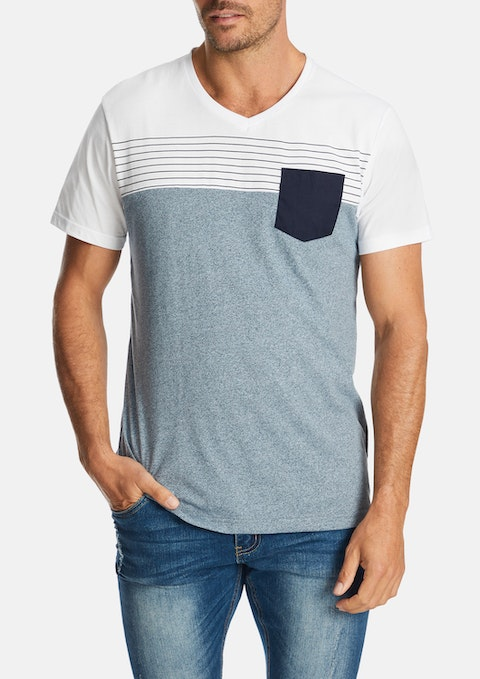 Light Blue The Dane V Neck Tee