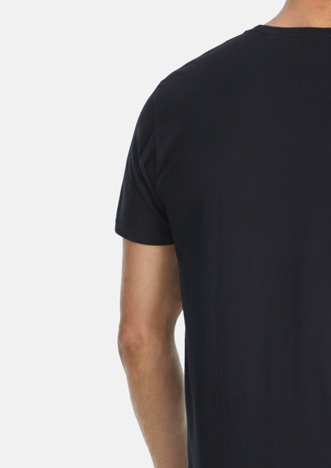 Black Essential Longline Tee