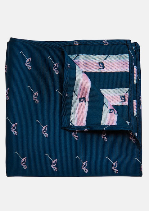 Navy Flamingo Pocket Square