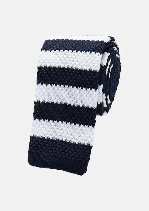 Navy Knitted Stripe Tie