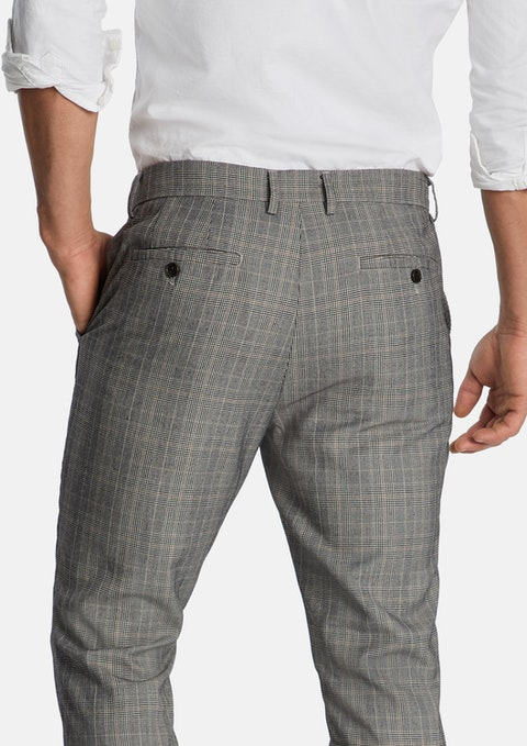 Taupe Ripley Tapered Check Pant