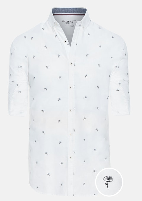 White Naples Slim Casual Shirt
