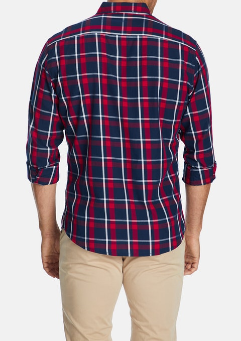 Red Herbert Check Print Casual Slim Shirt