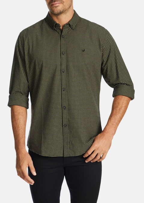 Khaki Falcon Check Print Casual Shirt