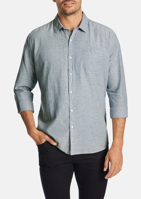 Blue Albany Linen Blend Casual Shirt