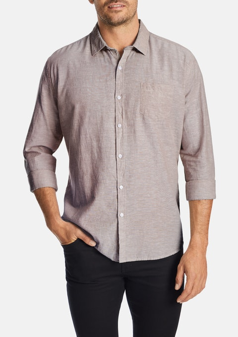 Dusty Pink Albany Linen Blend Casual Shirt