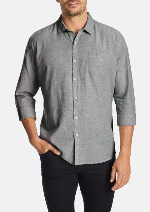 Grey Albany Linen Blend Casual Shirt