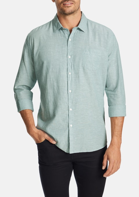 Sage Albany Linen Blend Casual Shirt