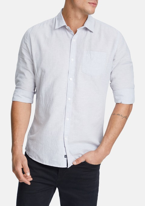Silver Albany Linen Blend Casual Shirt