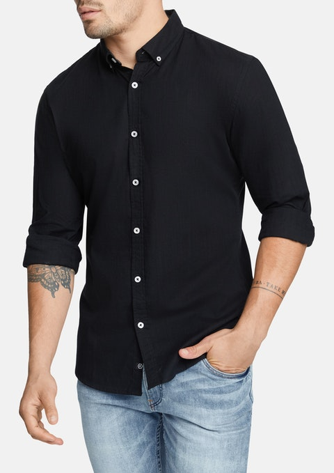 Black Portofino Slim Casual Shirt