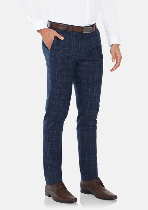 Navy Langford Skinny Check Dress Pant