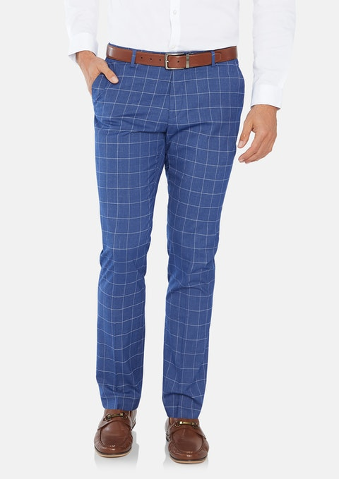 Blue Saville Skinny Check Dress Pant
