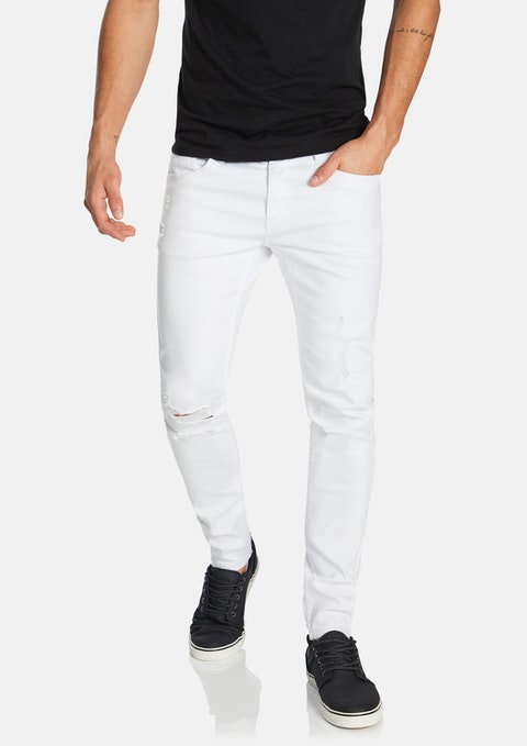 White Travis Skinny Ripped Jean