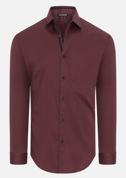 Wine Granada Slim Dress Shirt
