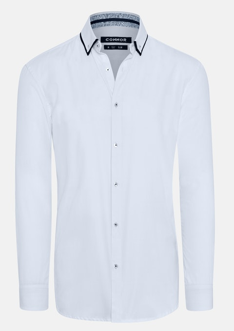 White Ledger Slim Dress Shirt