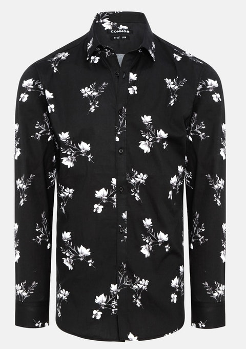 Black Valencia Slim Stretch Shirt