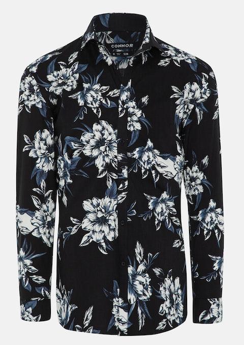 Black Kitson Floral Print Stretch Shirt