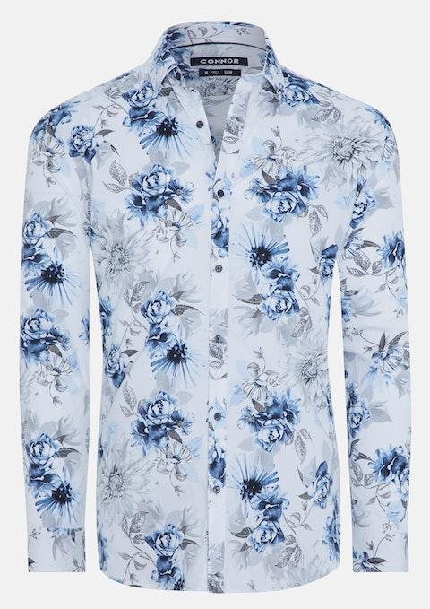 White Times Floral Print Slim Stretch Shirt