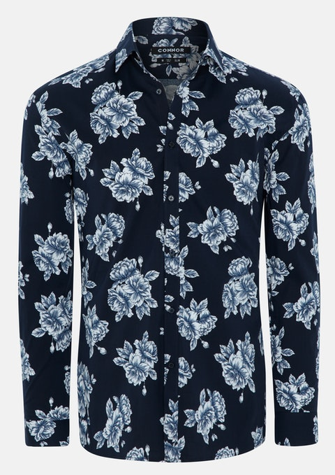 Navy Morrison Slim Stretch Shirt