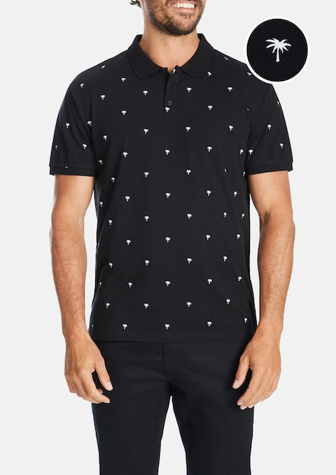 Black Palm Tree Polo