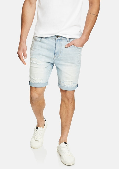 Light Blue Zeb Ripped Denim Short