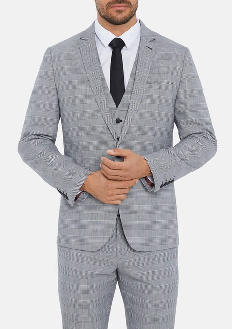 Grey Paxton Skinny Check Suit Jacket