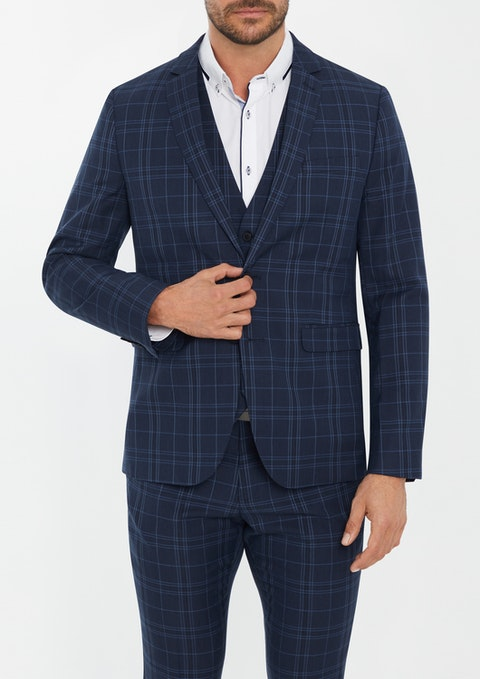 Navy Langford Skinny Check Suit Jacket