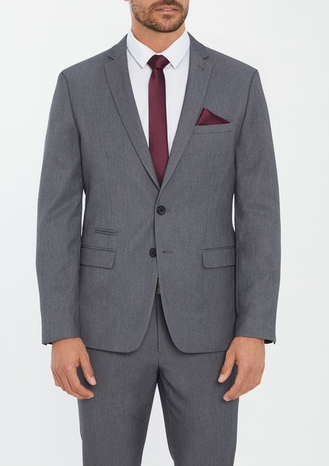 Grey Diamond Stretch Slim Suit Jacket