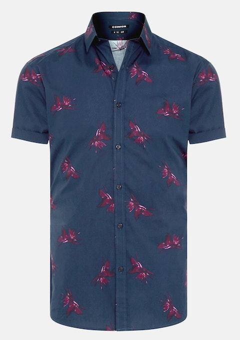 Navy Ascot Slim Shirt