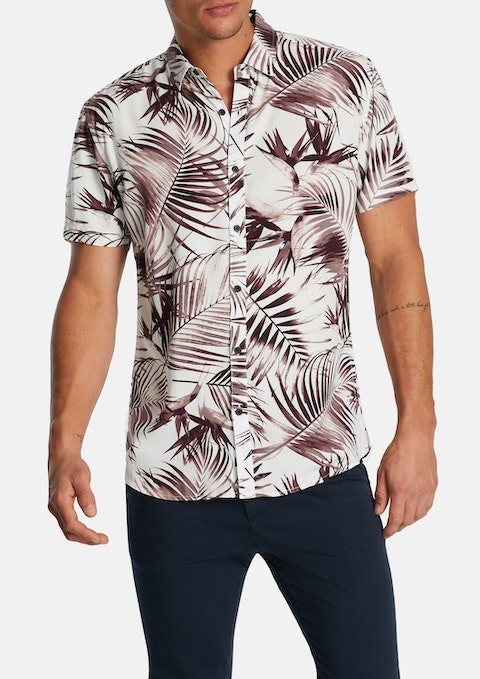 Taupe Keith Palm Print Shirt