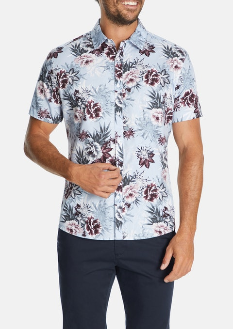 Light Blue Press Floral Print Shirt