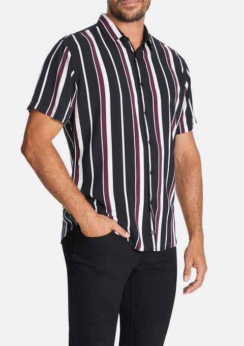 Wine Kramer Stripe Print Shirt
