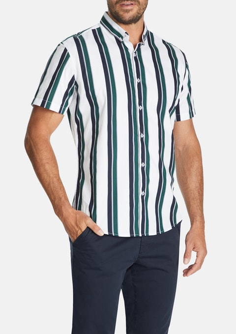 White Millard Stripe Print Shirt