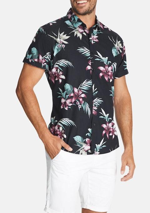 Black Santana Floral Print Shirt