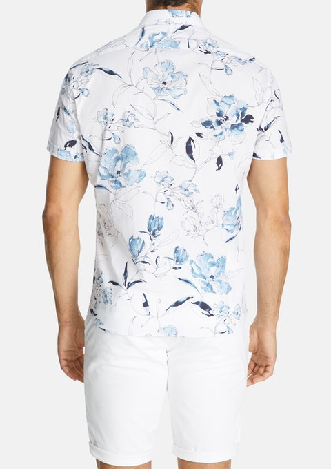 White Florence Slim Stretch Shirt