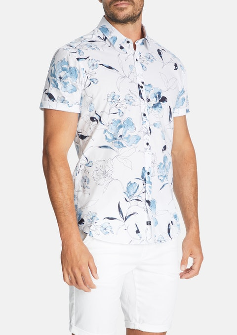 White Florence Floral Print Slim Stretch Shirt