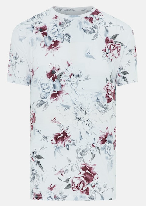 White Kevin Floral Print Crew Tee