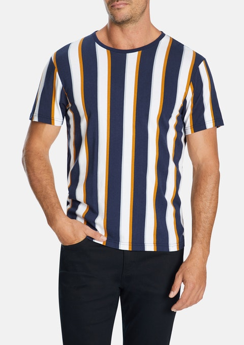 Blue Dash Stripe Crew Tee