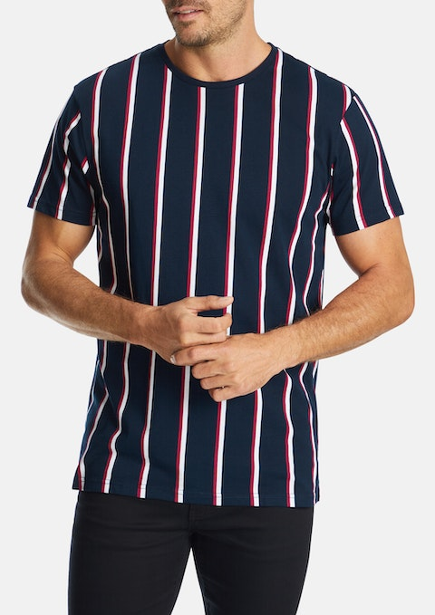 Red Huxley Stripe Crew Tee