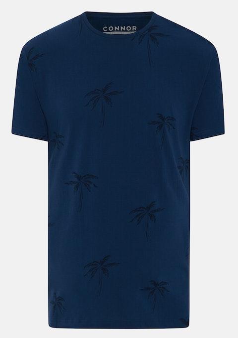 Blue Corey Palm Print Crew Tee