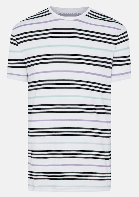 White Royce Stripe Crew Tee