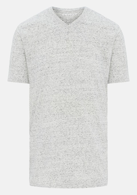 Grey Textured V Neck Tee